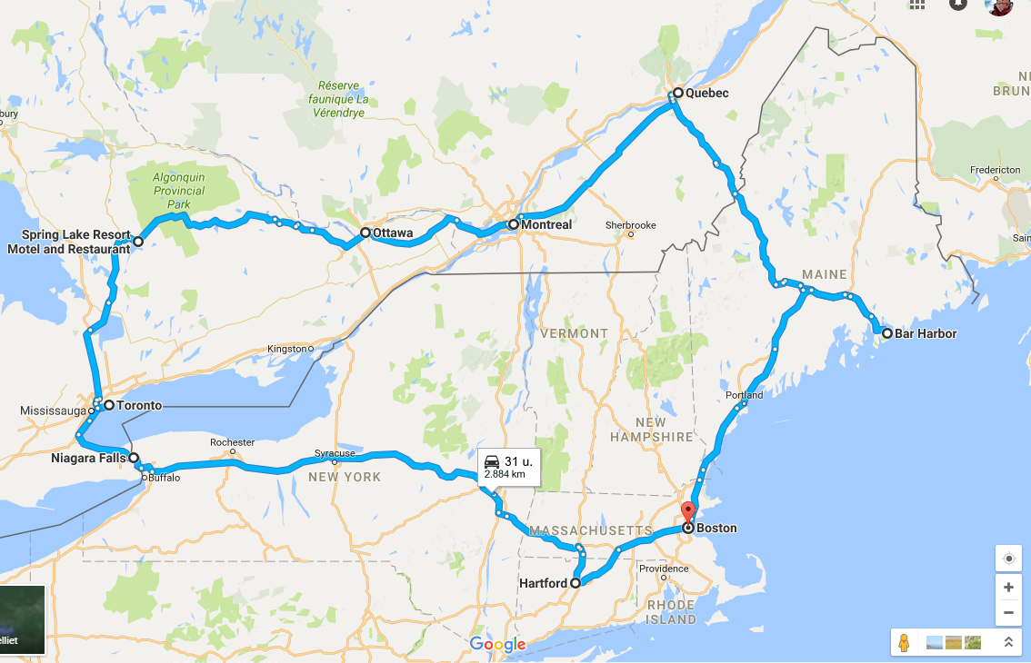 Route Boston (22 dagen)