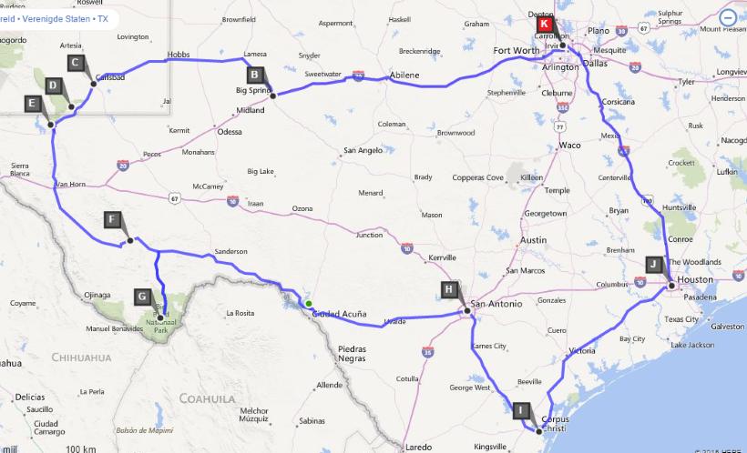 Route Dallas (15 dagen)
