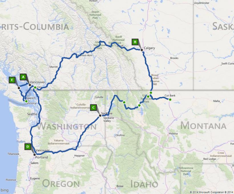 Route Vancouver (22 dagen)