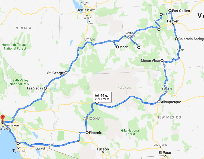 Route Los Angeles (26 dagen)